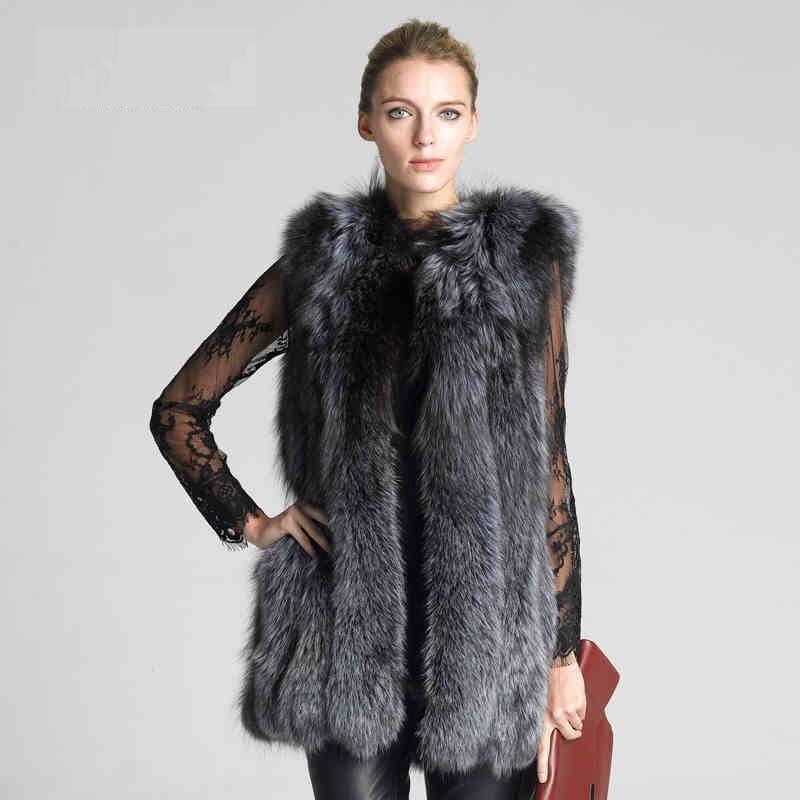 LIYAFUR Frauen 100% echte echte Full Pelt Silber Fuchspelz lange - Damenbekleidung - Foto 2