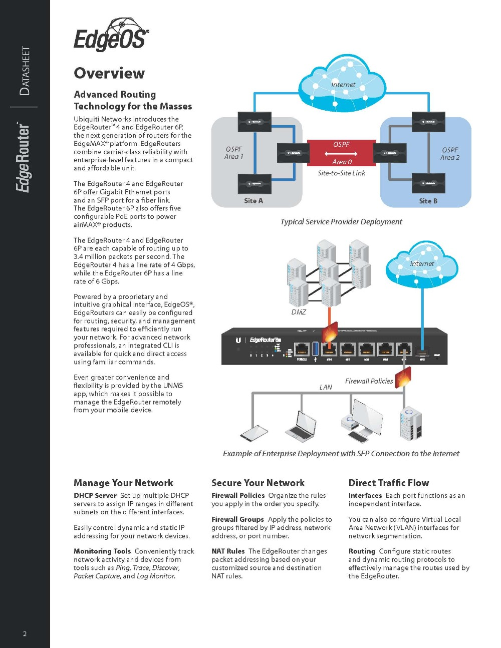 UBNT EdgeMAX EdgeRouter ER-6P Ubiquiti Advanced High performance Enterprise  level SFP POE Router 6x Gigabit Ethernet RJ45 ports