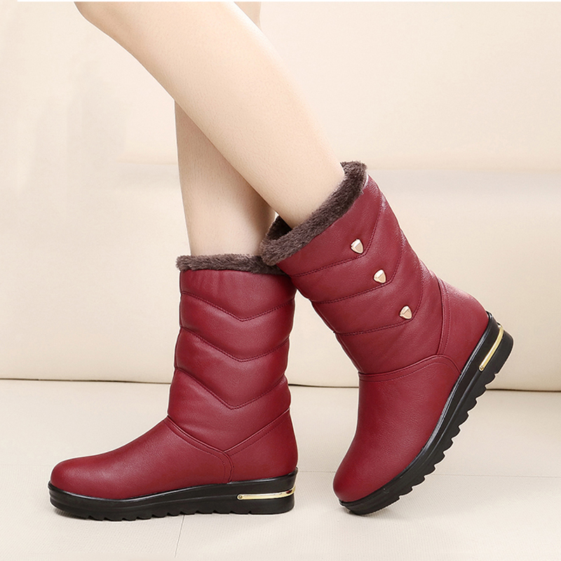Women boots high quality waterproof mid-calf boots 2017 new arrivals warm plush winter shoes platform snow boots double buckle cross straps mid calf boots