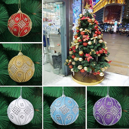 1pcs christmas tree hanging diameter 8cm diamond chain balls upscale decorations ball xmas party wedding ornament - Christmas Chain Decorations
