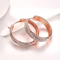Rose Gold Plated Big Hoop Earring Paved Luxury Cubic Zirconia Fashion Women Round Loop Crystal Earrings