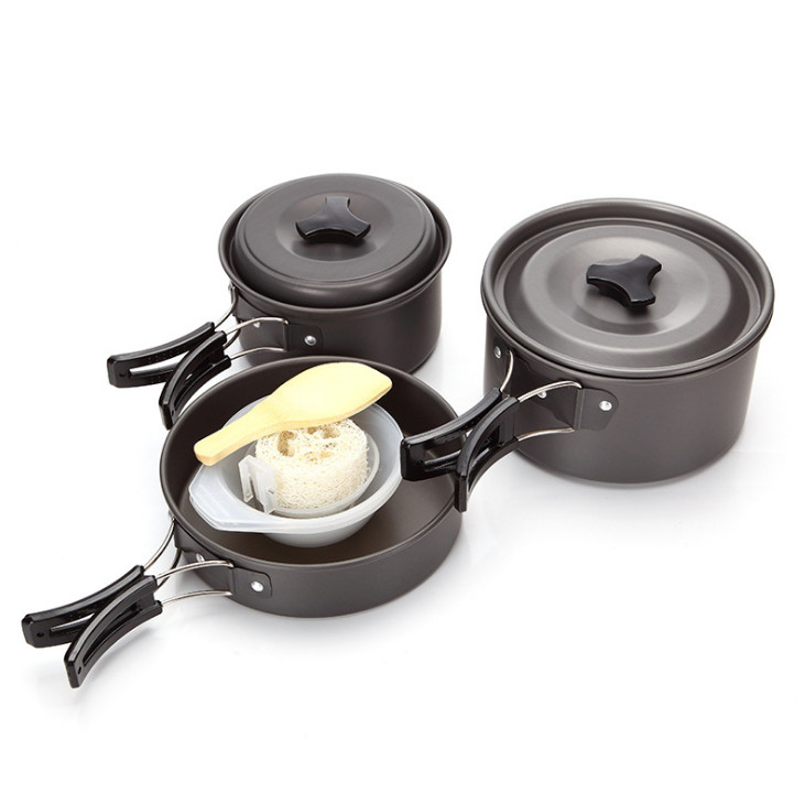 11pcs set Outdoor Camping Hiking Cookware Cooking Picnic Bowl Pot Pan Set Portable casserole Pinic Equipment