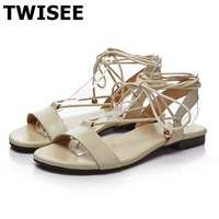 TWISEE 2017New National Style Women Sandals Gladiator Shoes Summer Lace Up Shoes Genuine Leather Women Shoe