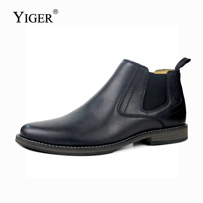 YIGER New Men 39 s Chelsea Boots Ankle boots Genuine Leather Man boots Slip on Casual Martin boots male Large size men 39 s shoes 0182 in Chelsea Boots from Shoes