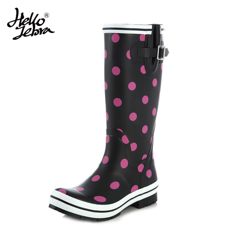 Hellozebra Women Rain Boots knee High Water Shoes Botas feminina thigh high booties Platform boots Thigh Fall Rubber 2017 New hellozebra punk style tall boots women s pure color rain boots outdoor rubber water shoes for female 2017 new fashion design