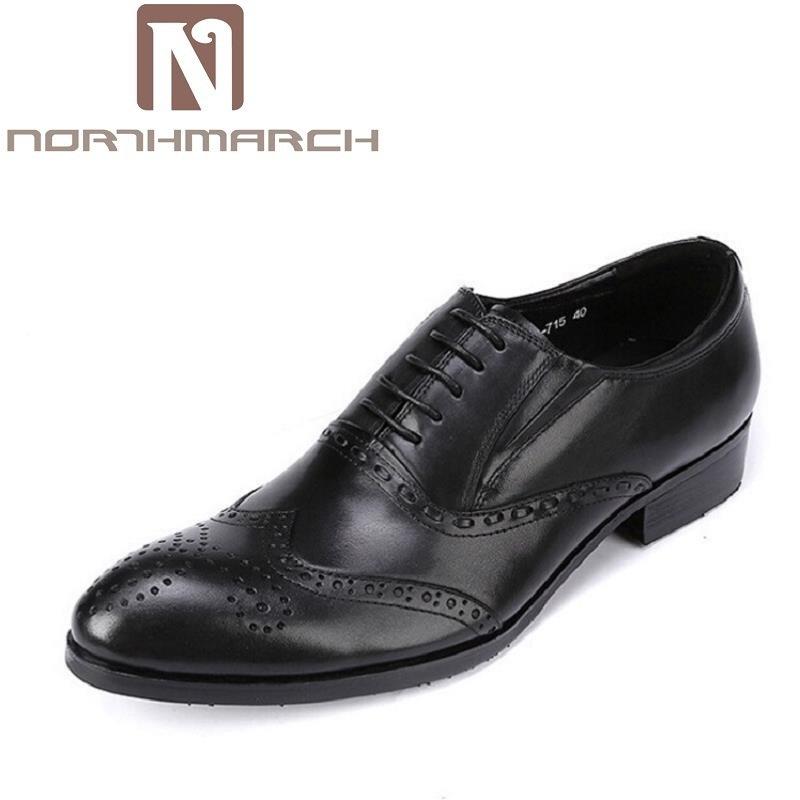 NORTHMARCH Italian Designer Black Brown Brogue Shoes Genuine Leather Lace Up Men Formal Dress Shoes Party Office Wedding Oxfords недорого