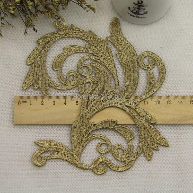 LP-JA30 Bordado flores parches encaje oro apliques collar vestido de - Artes, artesanía y costura