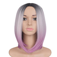 Feilimei Ombre Grey Blonde Wig 10Inch 160g Synthetic Short Straight African American Bob Wigs Black Gray Purple Coloured Hair