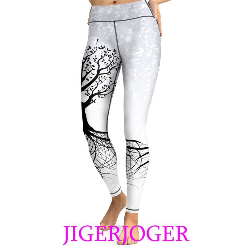 JIGERJOGER High waist Band key pocket white Tree of Life printed Women's Yoga Legging workout Pants Sports Ballet Dance Leggings