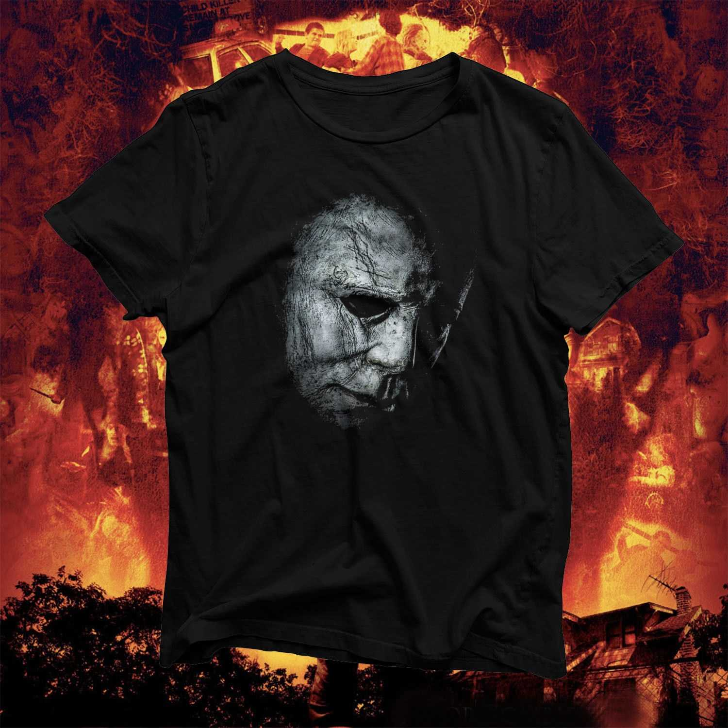 Halloween Mystery Slasher T Shirt Mike Michael Myers Creepy Spooky Blood Male Hip Hop Funny Tee Shirts Cheap Wholesale