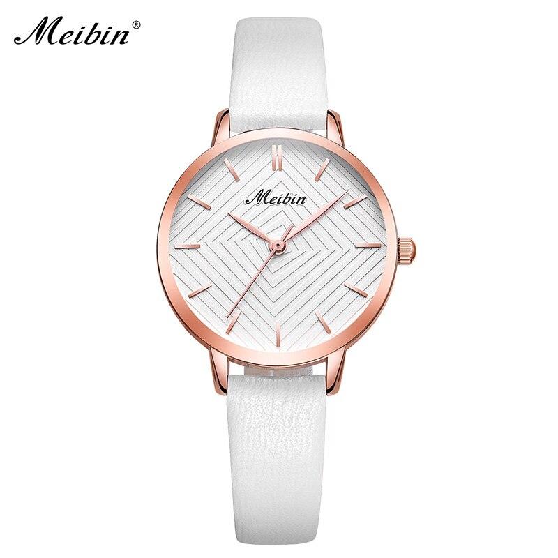 MEIBIN luxe merk vrouwen horloges 2018 mode roze lederen dameshorloge - Dameshorloges - Foto 2