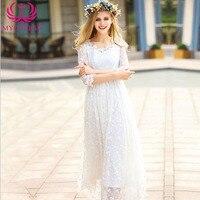 Mycourse 2017 new fashion sweet lace połowa rękawem dress elegancki szydełka floral mesh haft slim fit długie suknie biały dress