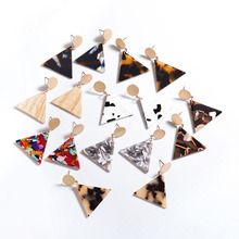 2019 New Fashion Jewelry Leopard Earrings Tortoiseshell Brincos Geometry for Women Acrylic Triangle Earring Wholesale