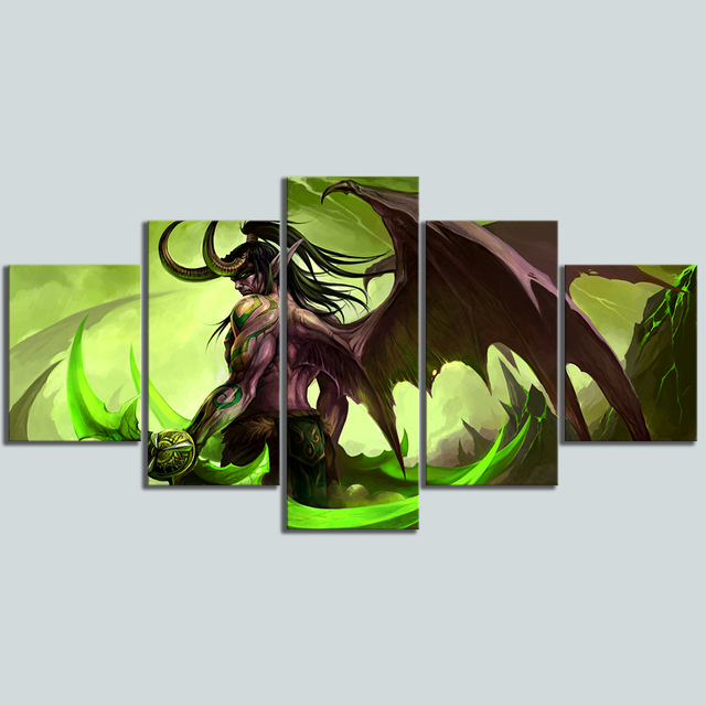 Hd Picture 5 Piece Video Game Word Warcraft Illidan Stormrage Warrior Poster Canvas Art Wall Painting Home