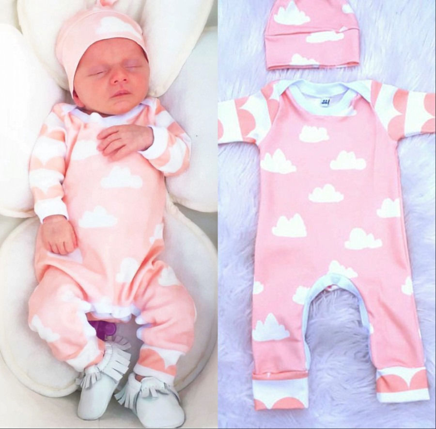 Printed Cloud Infant Baby Girls   Romper   with Hat Pink Wave Newborn Baby Girls Long Sleeve   Romper   Jumpsuit Hat Girls Clothes 0-18M