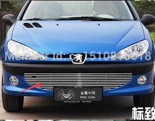 Stainless steel Car front bumper Mesh Grille Around Trim Racing Grills for Peugeot 206 Quality abs chrome front grille around trim racing grills trim for 2013 hyundai santa fe ix45