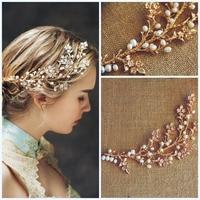Handmade Fresh Water Pearl Wedding Hair Vine Jewelry Gold Bridal Tiara Headband Accessories