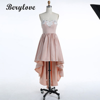 BeryLove Sweetheart High Low Homecoming Dresses Appliques Beading Short Party Dresses Cheap Women Party Dresses 2018