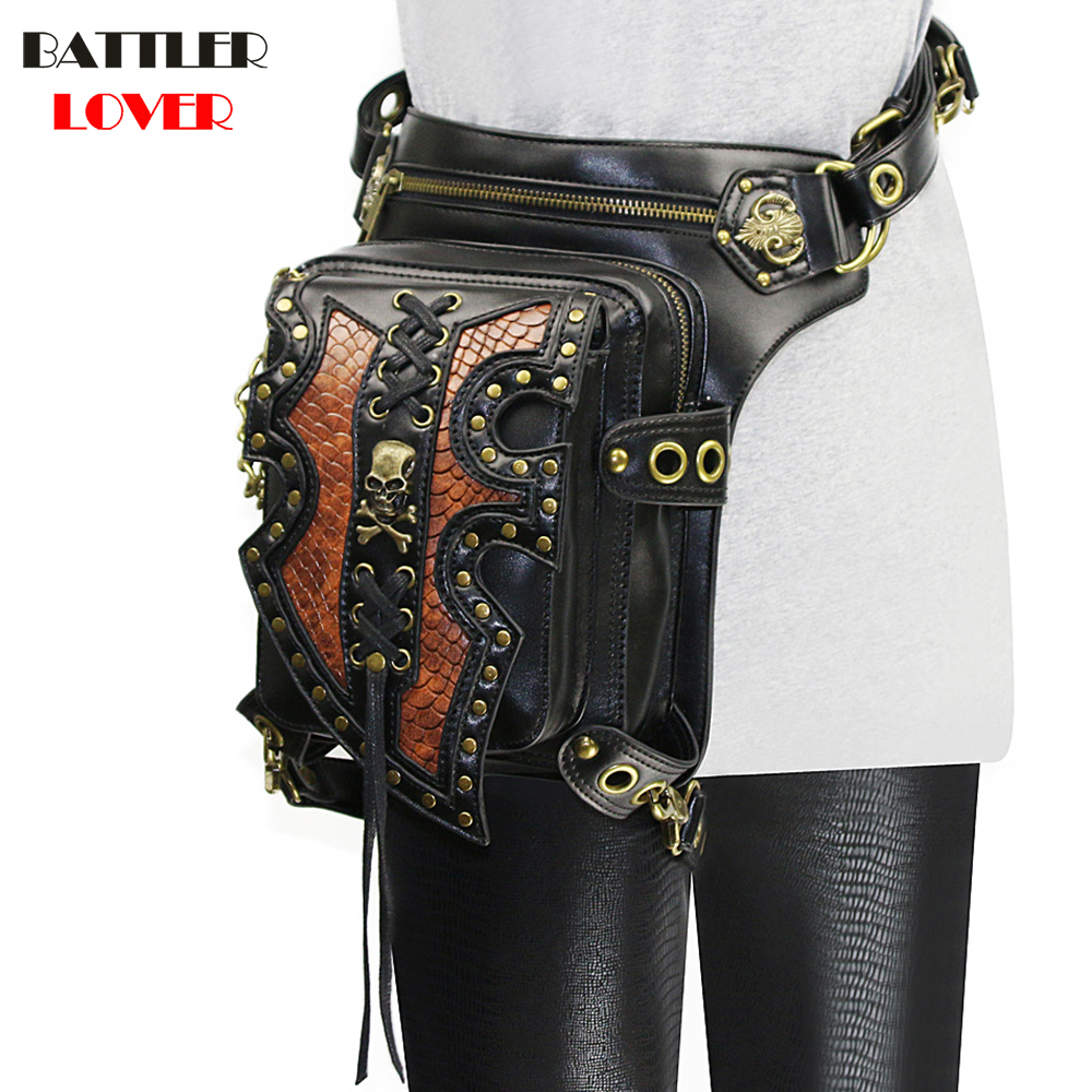 Lady Pockets Skulls Messenger Bag Punk Mujer Femme Women Shoulder Bag Women's High Quality PU Leather Men Hombre Travel Leg Bag