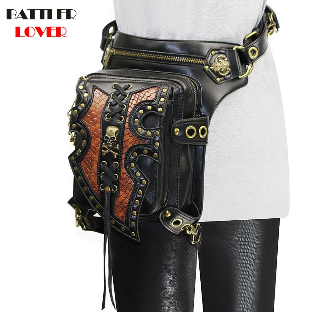 Lady Pockets Skulls Messenger Bag Punk Mujer Femme Women Shoulder Bag Women's High Quality PU Leather Men Hombre Travel Leg Bag