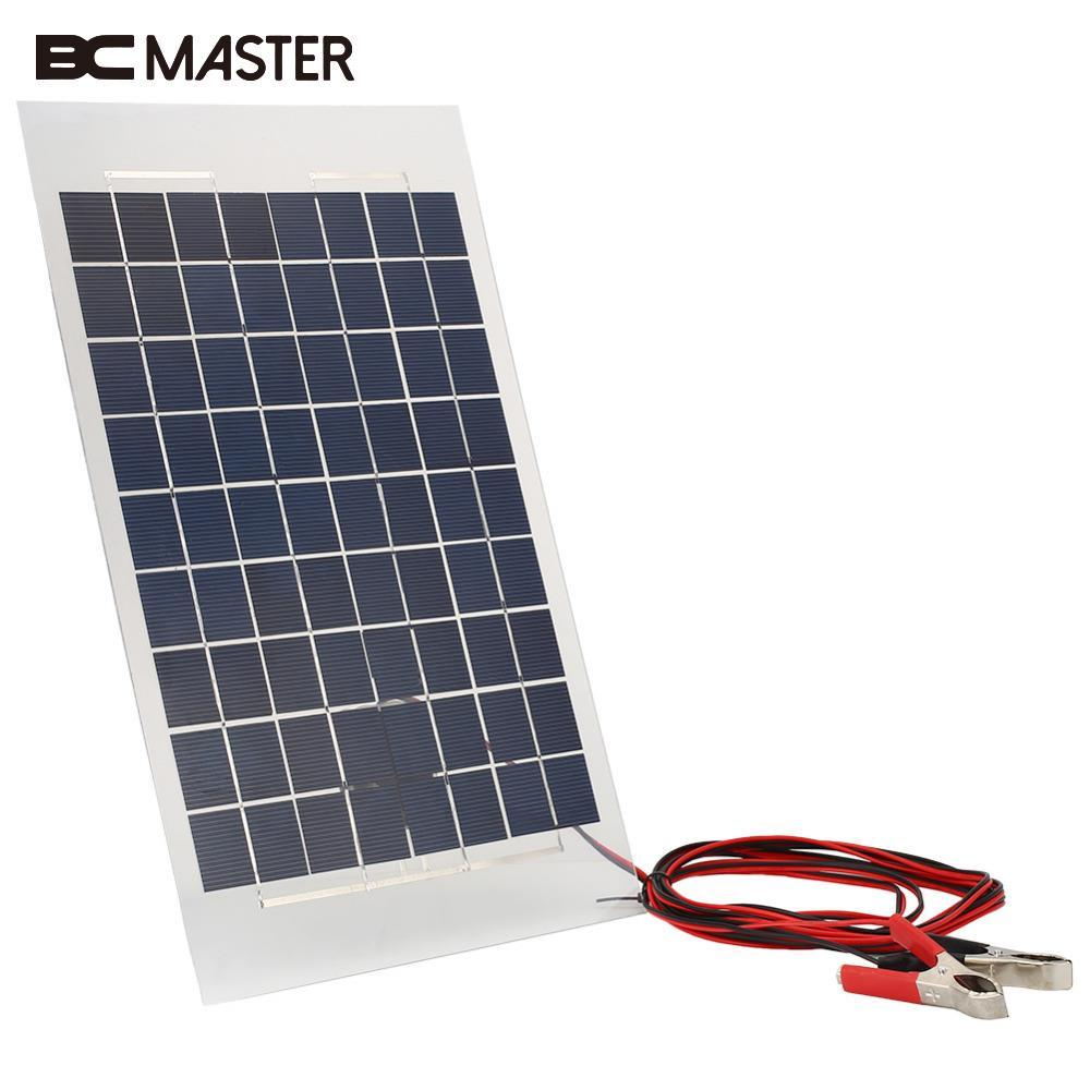 BCMaster 12V 10W Solar Panel PolyCrystalline Cells DIY Solar Module Epoxy Resin With Block Diode 2 Alligator Clips 4m Cable outd