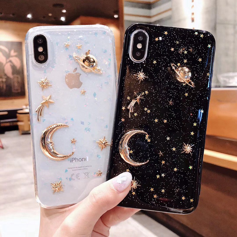Luxury Pretty Bling Glitter Phone <font><b>Case</b></font> For <font><b>iPhone</b></font> 11 Pro X XR XS Max Plating Stars Moon Soft TPU <font><b>Case</b></font> For <font><b>iPhone</b></font> <font><b>6</b></font> 6S 7 8 Plus image