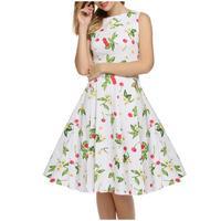 White Cherry Sleeveless Word Heiben Wind Retro Printing Large Ponceau Princess Skirt Sweep Section Dress G27