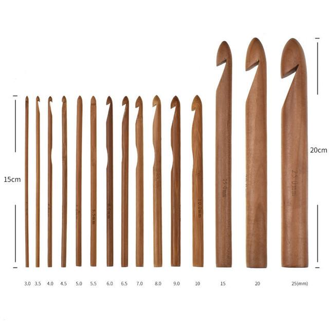 KOKNIT 15Pcs Size 3.0-25mm Wooden Bamboo Crochet Hooks Set Bamboo Knitting Needles Pins for Thick Yarn DIY Sewing Tools 4
