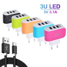 Permen Warna 5V 3.1A 3USB Port Home Travel AC Power Adaptor Charger Dinding USB Charger untuk Uni Eropa Ponsel tablet Xiomi Kabel Micro(China)
