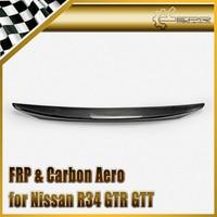 Car Styling For Nissan Skyline R34 GTR GTT Carbon Fiber MIN Style Rear Spoiler Glossy Fibre MI Trunk Wing Lip Racing Body Kit