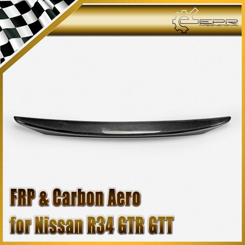 Car-styling For Nissan Skyline R34 GTR GTT Carbon Fiber MIN Style Rear Spoiler Glossy Fibre Trunk Wing Lip Racing Auto Body Kit