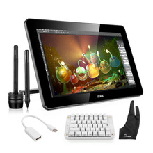 Wholesale Ugee HK1560 15.6 Inches IPS  HD Graphics Monitor Drawing Display+ Parblo Mechanical Gaming  Keyboard+ Adapter+Protector+ Glove
