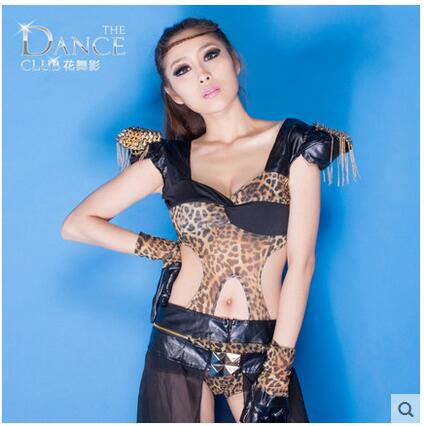Pierced sexy leopard Dress Nightclub Bar singer ds costumes Fashion personality ...