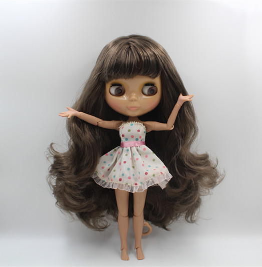цены Blygirl Nude doll Blyth doll dark gray bangs hair more joints body 19 joint wheat skin color can change the body DIY doll