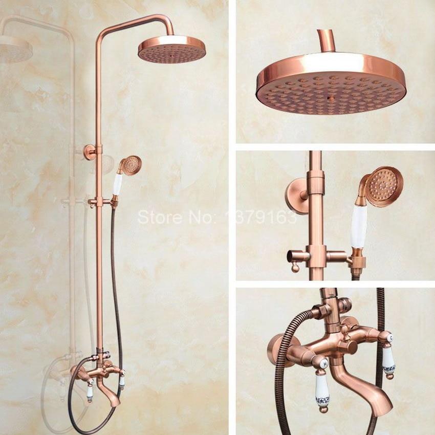 Rainfall Shower Faucet Mixer Tap Set Bathroom Tub Dual Ceramics Lever 7.7 Inch Rain Shower Head Antique Red Copper Brass arg545