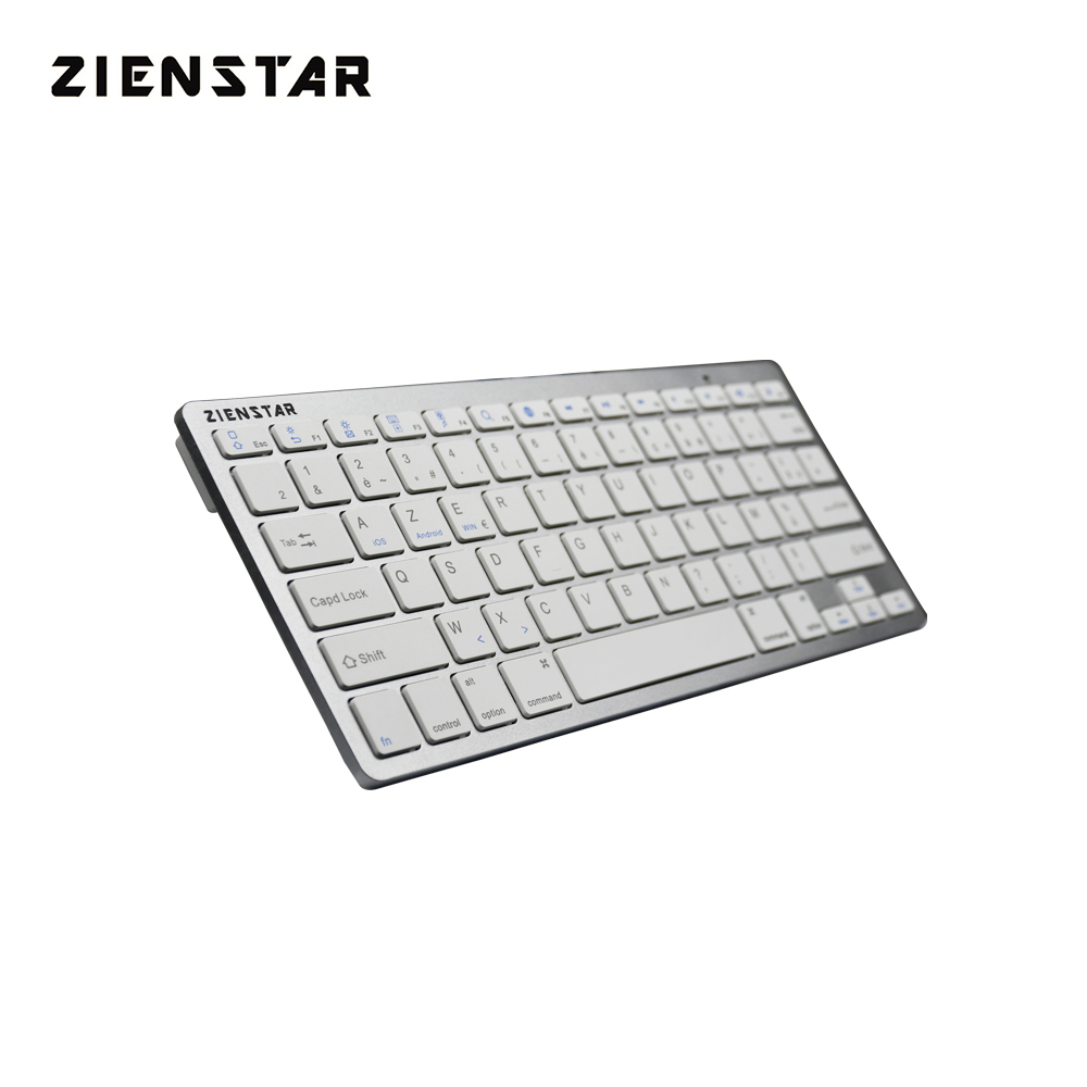 Zienstar AZERTY Lengua francesa Ultra delgado Teclado inalámbrico Bluetooth 3.0 para ipad / Iphone / Macbook / PC / tableta Android