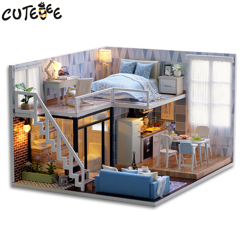 CUTEBEE DIY Doll House Trä Doll House Miniatyr Dollhouse Möbel Kit - Dockor och gosedjur