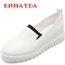 ENMAYDA Brand Shoes Woman Spring and Autumn New Flats 2 Colors White Shoes Round Toe Slip-on Platform Solid Flats Casual Shoes