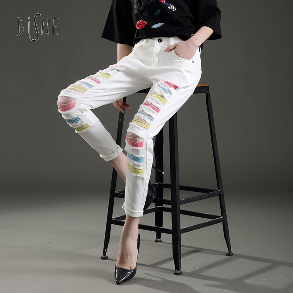 ФОТО Summer Style Fashion Ripped Jeans Destroyed Women Cool Denim Pants Trousers Sexy Hole Jeans Female 2017 White Pencil Jean
