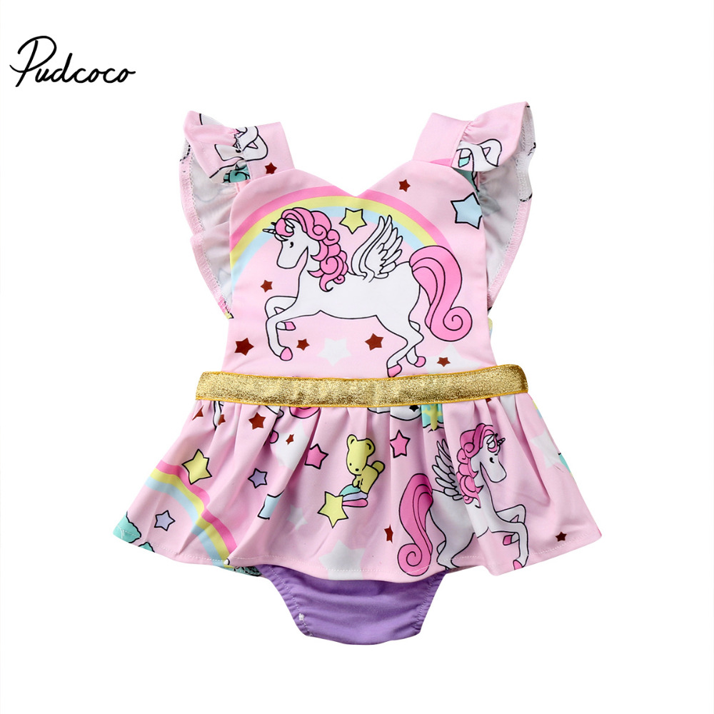 Pudcoco Newborn Baby Girl Summer Clothes Unicorn Rompers Strap Backless Romper Dress Jumpsuit Infant Toddler Clothing
