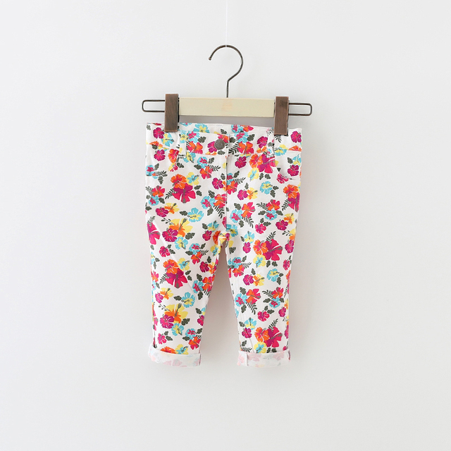 Novo 2016 do bebê grils calças macio e confortável do bebê leggings moda infantil meninas Flor calças Stretch topomini 12-24 M