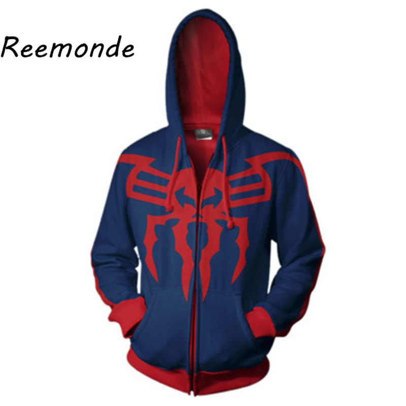 マーベル作品スパイダーマンコスプレ男性用パーカートレーナー 3d プリントメンズ男性フード付きジッパーパーカージャケットスーパーヒーロー