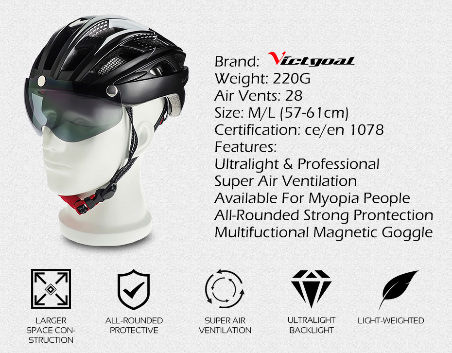 Bike Helmet, LED Backlight, Bicycle, Helmet Men Women Goggles Cycling Helmet Ultralight MTB Road 13