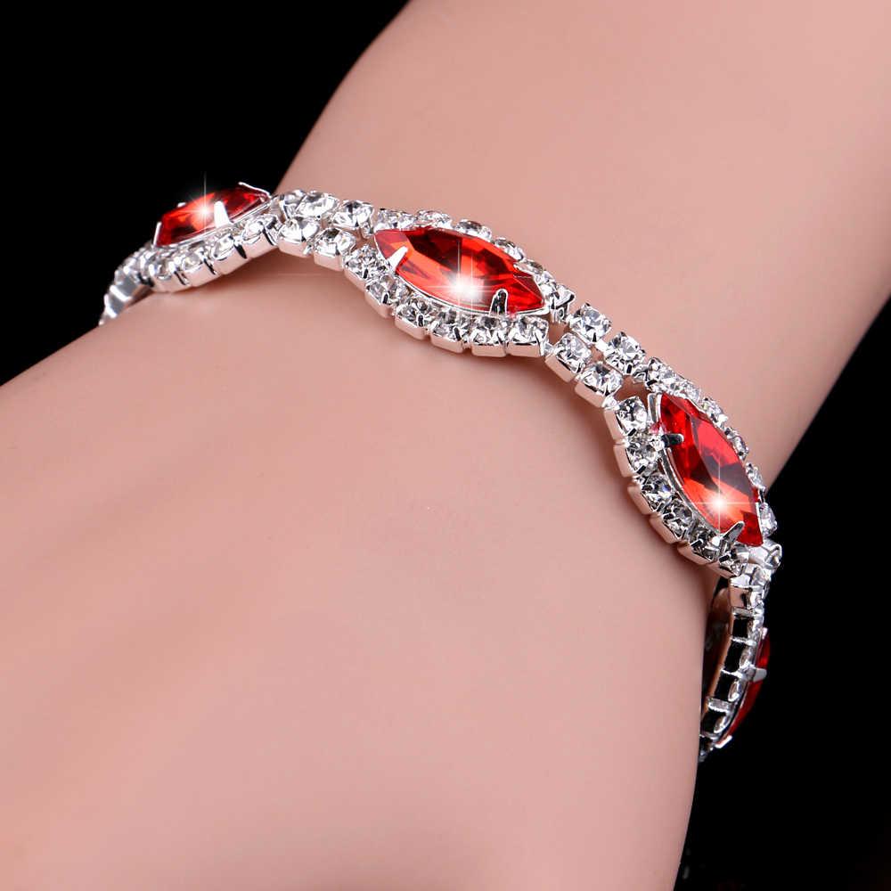 TREAZY Elegant Trang Sức Bridal Bộ Màu Đỏ Vòng Cổ Pha Lê Earrings Bracelet Trang Sức Set cho Phụ Nữ Cưới các Phụ Kiện Bên
