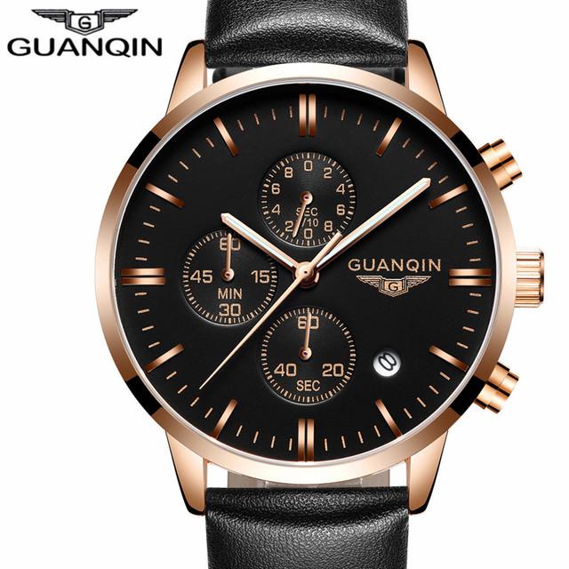 2016 hombres relojes de primeras marcas de lujo guanqin deportes cronógrafo vestido de la correa de cuero de moda masculina reloj de cuarzo resistente al agua reloj de pulsera
