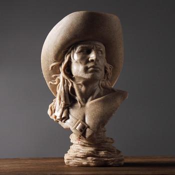 Abstract Cowboy Bust Handmade Sandstone Hunter Sculpture Portrait 1