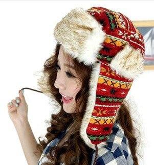 One pcs Free Shipping Women Thickening Winter Cap Faux Fur Domo Customs Wool Weaved Pattern Bomber Hats Fur Fox Ear Cap CP049