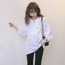 Maternity Shirts Long Sleeve Loose Blouses Tops Clothes for Pregnant Women Spring Autumn Pregnancy Clothing V-neck large size(China)