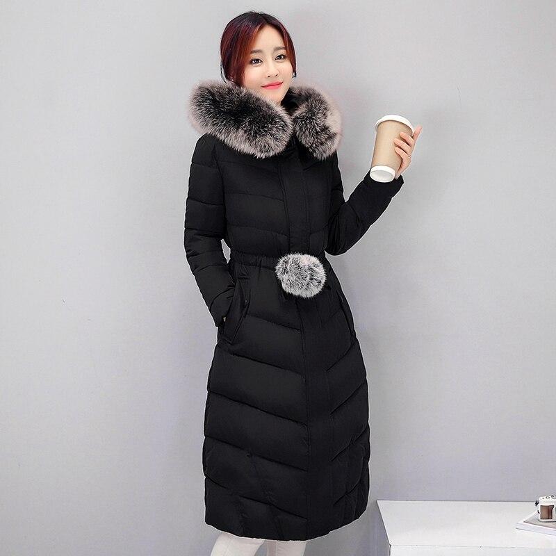 ФОТО Winter Down Coat Women 2016 New Female Korean Cotton Hooded Fur Coat Thick Long Jacket Solid Plus Size Winter Jacket Women Coats