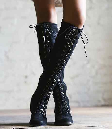 244e43cd799 5CM chunky heel side zipper lace up knee high boots black/red/grey/brown  suede long boots for woman size 35-42 fall winter boots